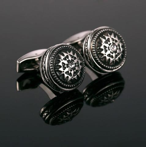 Okrągły ornament spinki do mankietów - 1
