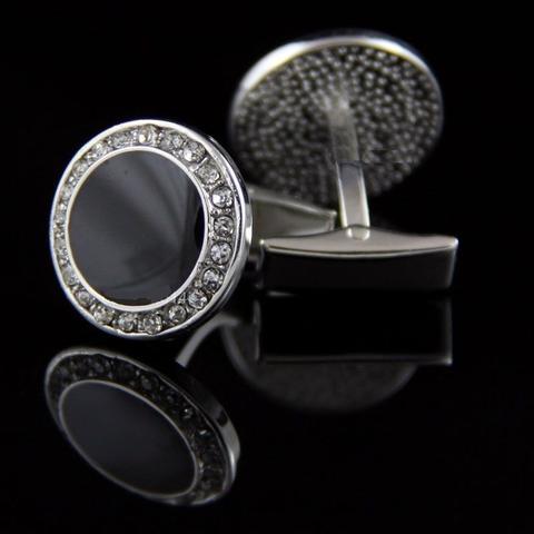 Spinki do mankietów okrągłe z czarnym kryształkami ze stali