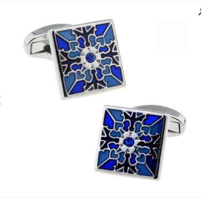 Spinki do mankietów niebieski kwiat - 1