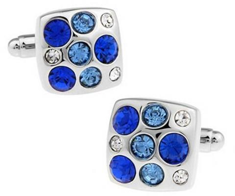 Spinki do mankietów z niebieskimi kamieniami - 1