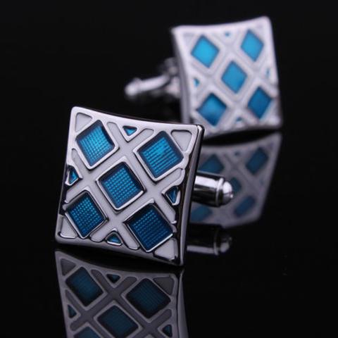 Spinki do mankietów niebieski i srebrny - 1