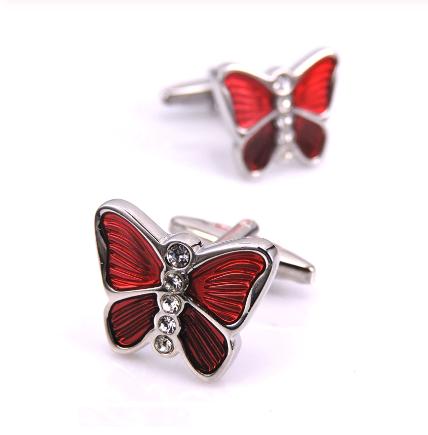 Spinki do mankietów Czerwony motyl