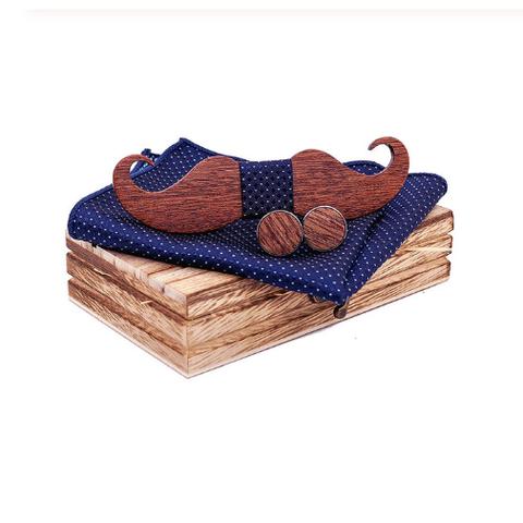 Drewniane spinki do mankietów z muszką wąsy - 1