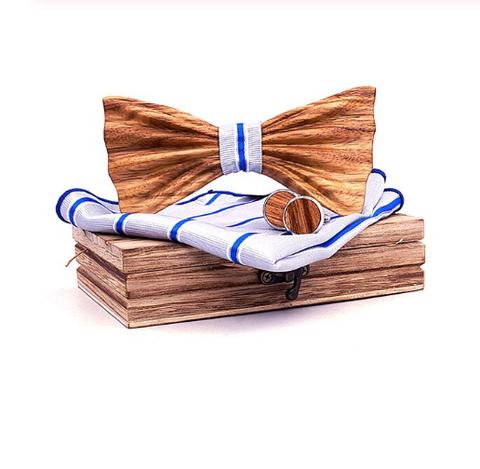 Drewniane spinki do mankietów z muszką Petrohrad