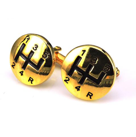Spinki do mankietów dźwignia zmiany biegów złota - 1