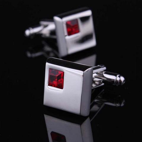 Spinki do mankietów szkarłatny czerwony kryształ