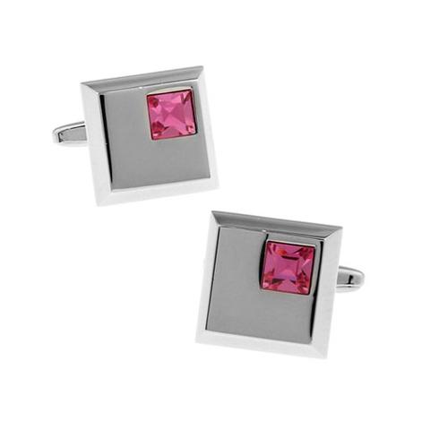 Spinki do mankietów - blady róż kryształ - 1