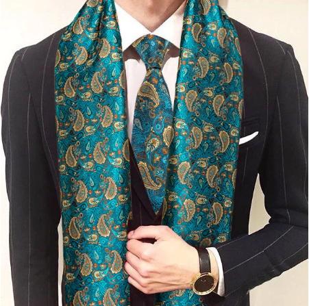 Spinki do mankietów z krawatem i szalikiem - 1