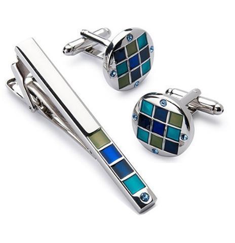 Spinki do mankietów z klipsem do krawatów niebiesko-mozaikowych - 1