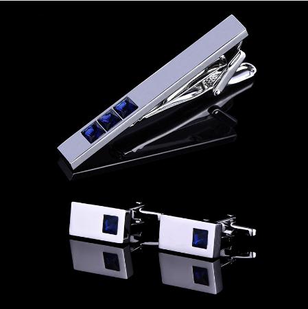 Spinki do mankietów z krawatem niebieskim kryształowym krawatem