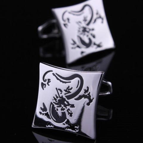 Spinki do mankietów smok silver - 1