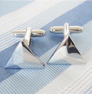 Spinki do mankietów Elegancki srebrny trójkąt
