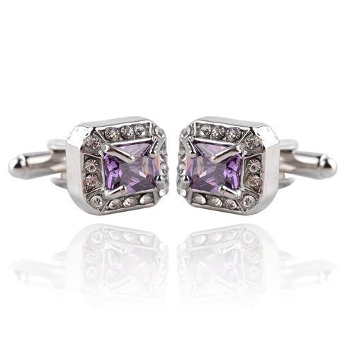 Spinki do mankietów  duży fioletowy kryształ