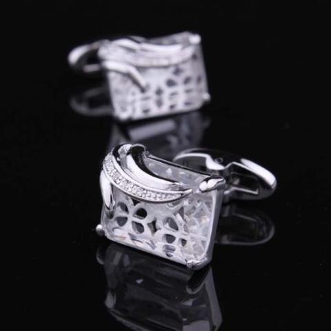 Spinki do mankietów przezroczyste kryształ - 1