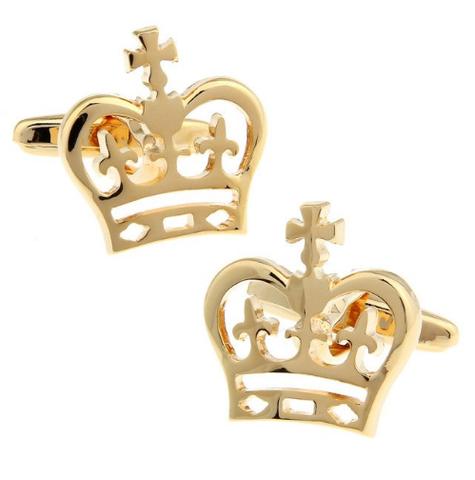 Spinki do mankietów z motywem korony królewskiej złoty - 1