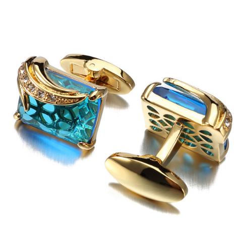 Spinki do mankietów niebieski kryształ - 1