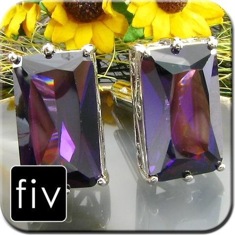 Spinki do mankietów kolor srebrny z fioletowym ogromnym kamieniem