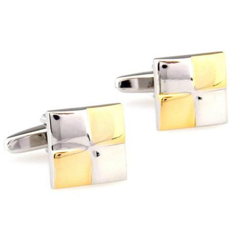 Spinki do mankietów złote i białe kwadraty