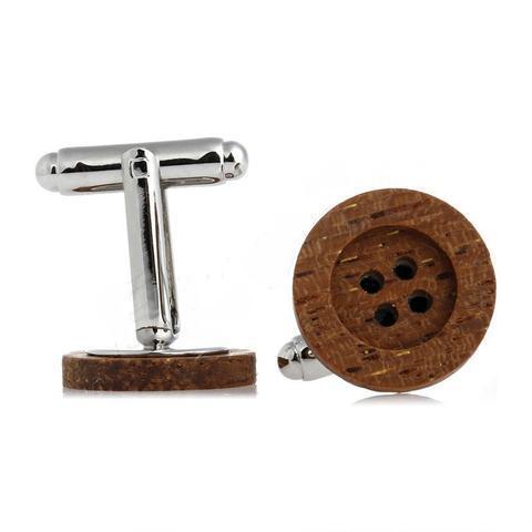 Spinki do mankietów przycisk drewniane - 2