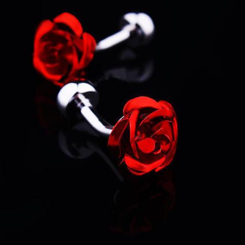 Spinki do mankietów czerwone róże - 2