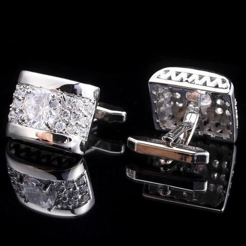 Spinki do mankietów luksusowe cyrkonia srebro - 2