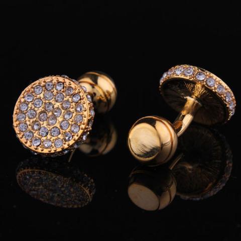 Spinki do mankietów wysadzane kryształkami - 2