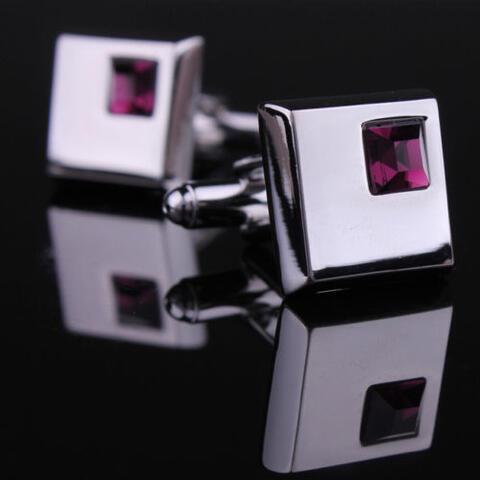 Spinki do mankietów - ciemny fiolet kryształ - 2