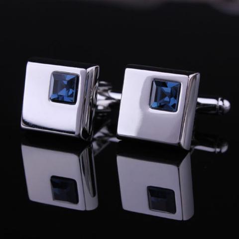 Spinki do mankietów - ciemny niebieski kryształ - 2