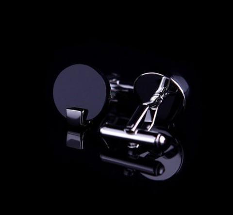Spinki do mankietów okrągłe czarne - 2