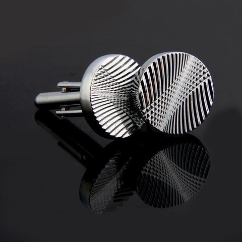 Spinki do mankietów okrągły kształt z tłoczeniem - 2