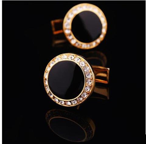 Spinki do mankietów okrągłe z czarnymi kryształkami - 2