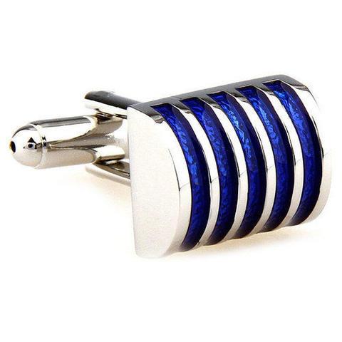 Spinki do mankietów niebieskie pasy - 2