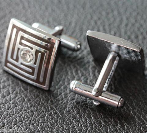 Spinki do mankietów kwadrat z kryształem - 2