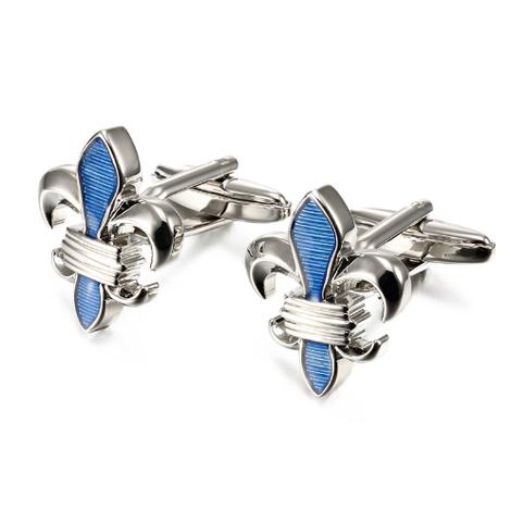 Spinki do mankietów Lepton Blue Fleur De Lis - 2
