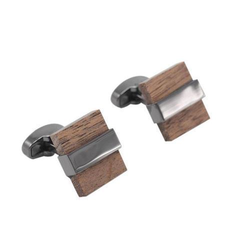 Spinki kwadratowy drewna - 2