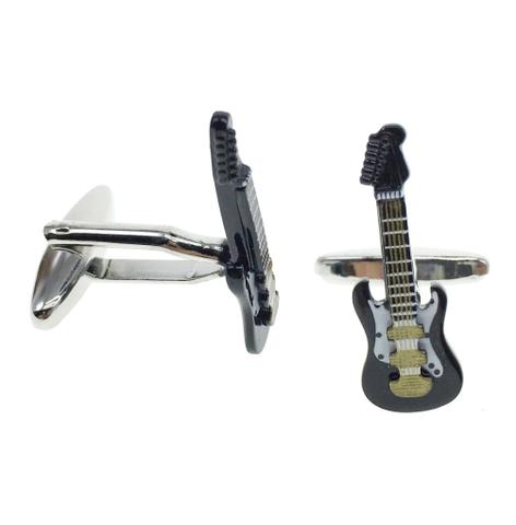Czarna spinki do mankietów gitara elektryczna - 2