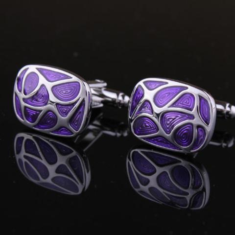 Spinki do mankietów fioletowy mozaiki - 2