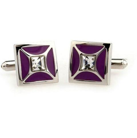 Spinki do mankietów purpurowy z kryształem - 2
