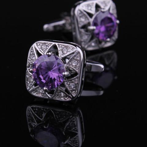 Spinki do mankietów fioletowy kamień - 2