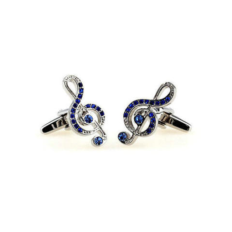 Spinki do mankietów klucz wiolinowy i niebieskie cyrkonie - 2
