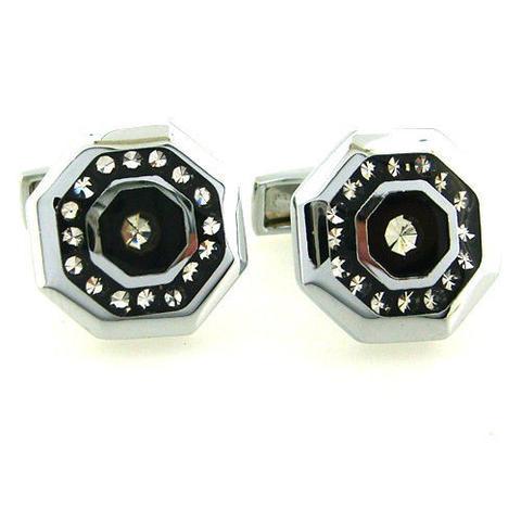 Spinki do mankietów stalowe ośmioboczna z kryształkami - 2