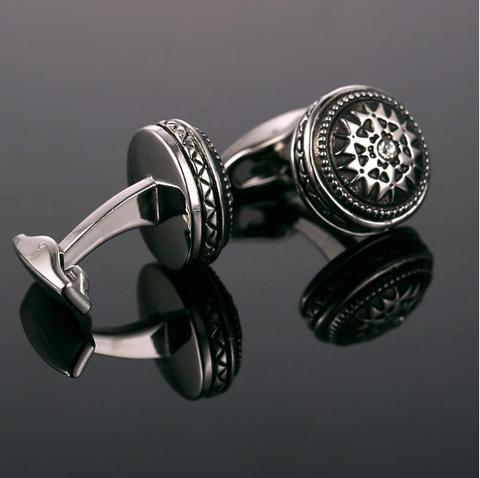 Okrągły ornament spinki do mankietów - 2