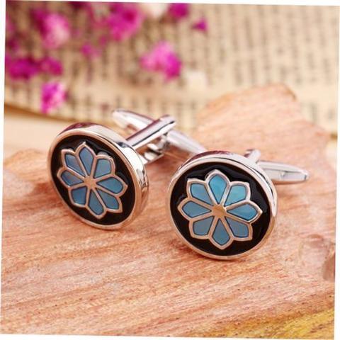 Spinki do mankietów niebieski kwiat - 2