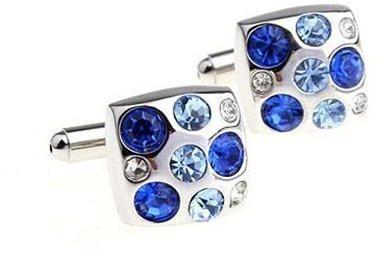 Spinki do mankietów z niebieskimi kamieniami - 2