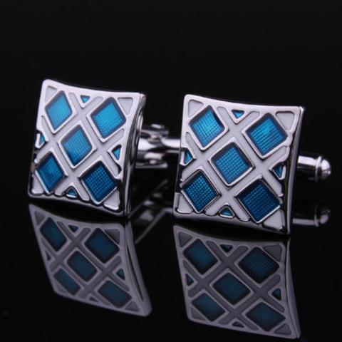 Spinki do mankietów niebieski i srebrny - 2