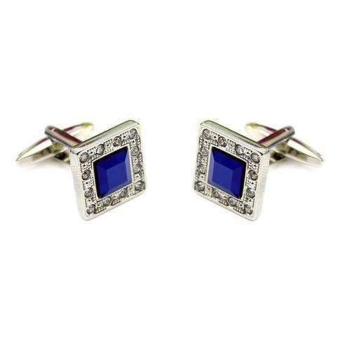 Spinki do mankietów niebieski kryształ - 2