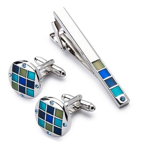 Spinki do mankietów z klipsem do krawatów niebiesko-mozaikowych - 2