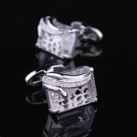 Spinki do mankietów przezroczyste kryształ - 2