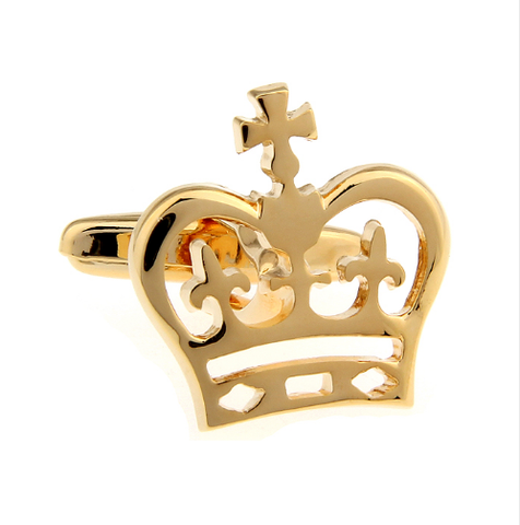 Spinki do mankietów z motywem korony królewskiej złoty - 2