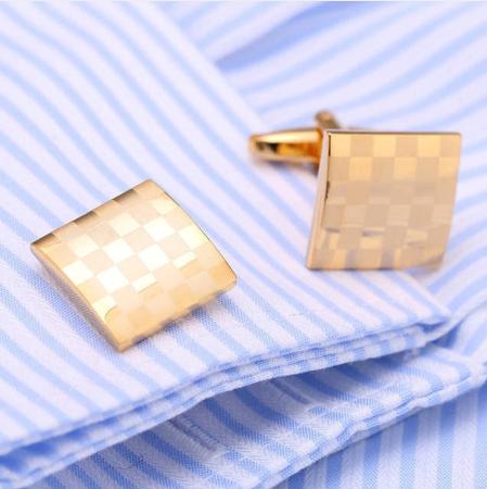 Spinki do mankietów złota szachownica - 2